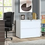 "ModernLuxe 2-Drawer Heavy-duty Lateral File Cabinet with Lock White 35.4""W×17.7""D×28.4""H"