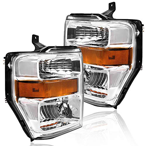 BRYGHT Headlight Assembly for 2008/2009 / 2010 Ford F-250 F-350 F-450 F-550 Super Duty Chrome Housing Headlamp Front Driving Light Pair Passenger and Driver Side (Chrome)