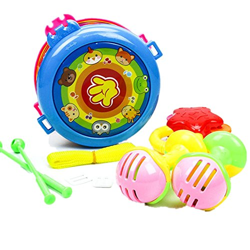 Tactile Playing Mat (Vibola Drums Toy Musical Instruments Playing Set Colorful Educational Toys Drum Handbell Trumpet Sand Hammer Drum Sticks)