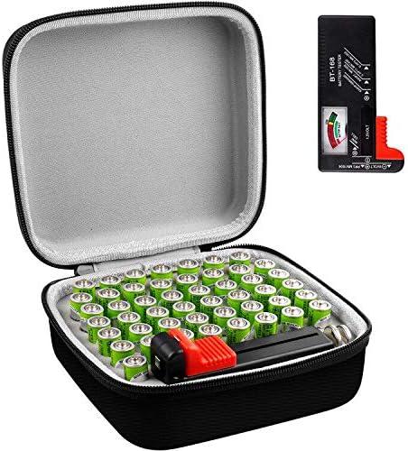Batterie Aufbewahrungsbox mit Batterietester (BT168), Tasche Halter passt für AA Lithium 3V (ohne Batterien)