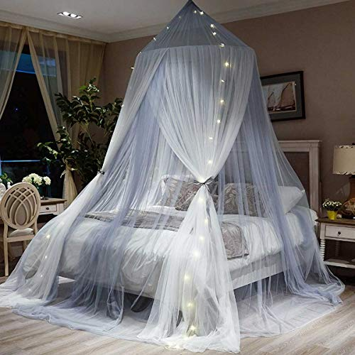 GLXQIJ Large Romantic Girls Princess Mosquito Net Round Dome Curtain Bed Canopy Lace Tent Bedding, for 0.9M – 2M Bed…