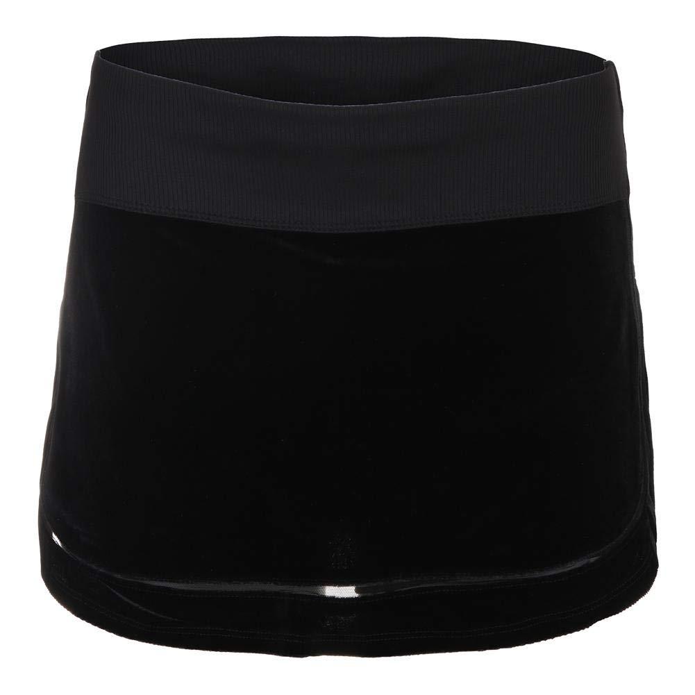 Lucky In Love-Women`s Velvet Track Skirt-(703980488041) Black