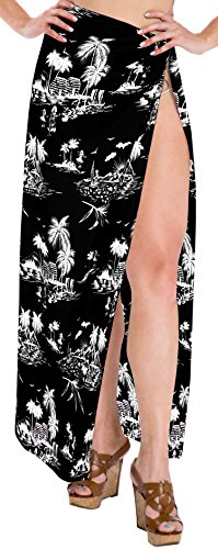 LA LEELA Soft Light Wrap Bathing Suit Women  Sarong Printed 88''X39'' Black_2900 by LA LEELA