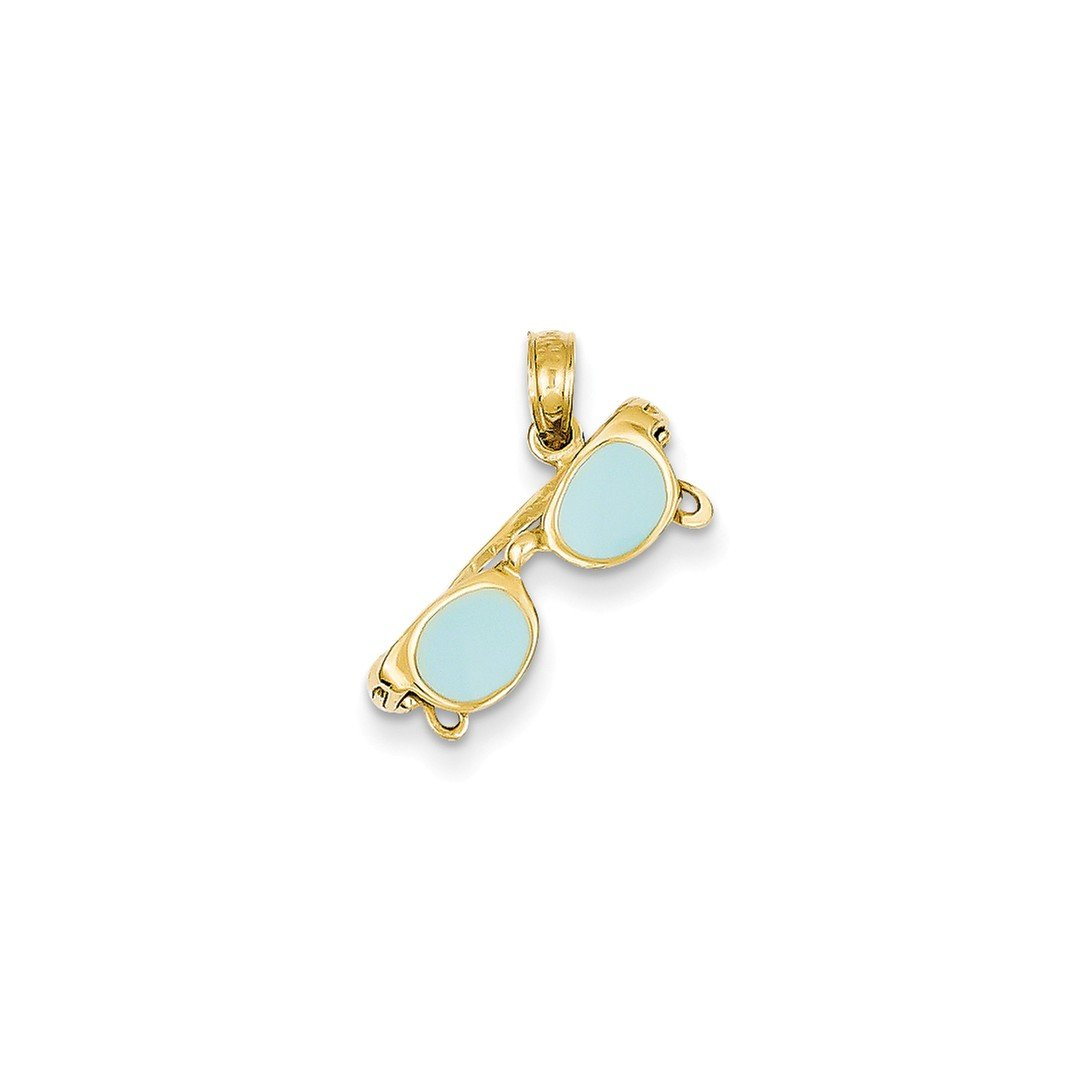 ICE CARATS 14k Yellow Gold Aqua Enameled Sunglasses Pendant Charm Necklace Sea Shore Beach Life Fine Jewelry Ideal Mothers Day Gifts For Mom Women Gift Set From Heart