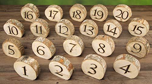 David Tutera RH0715-4146-ED Rustic Wedding Wood Slice Table Numbers: 20 Pieces, Multicolor -
