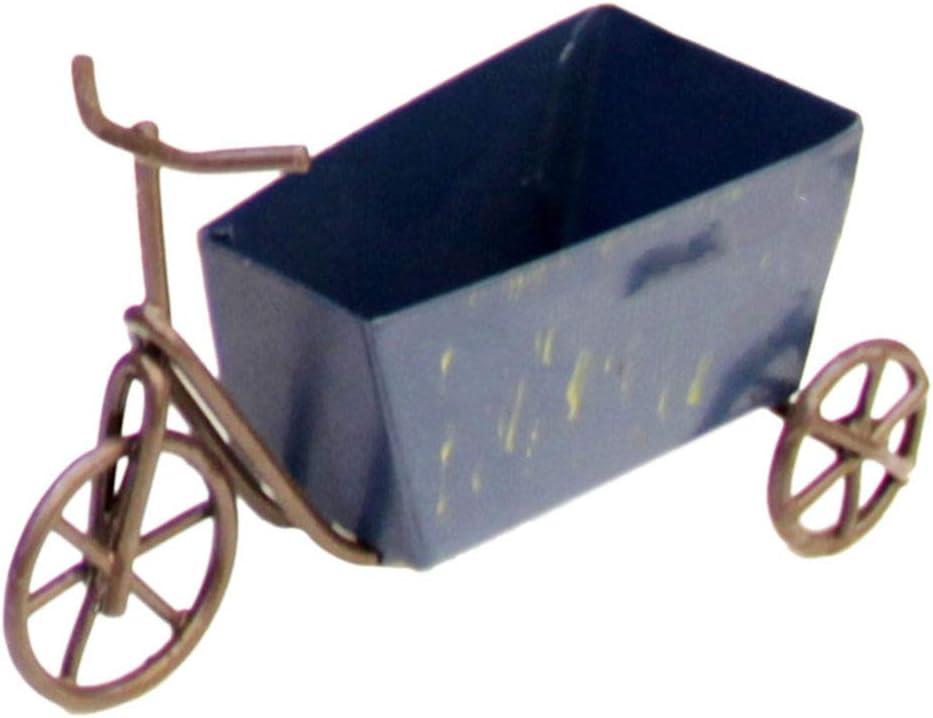 LIAOLEI10Escultura Mini Adorno de Triciclo Vintage Escultura de Metal Bicicleta Arte de Escritorio Jardín Decoración para el hogar Adornos Retro Decoración de Carro pequeño Regalo, Azul