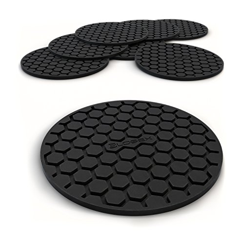 Large Product Image of Amazing Quality Drink Coaster Set (8pc), Sleek Modern Design. Prevents Furniture Damage, Absorbs Spills and Condensation! Top Grade Silicone Ð