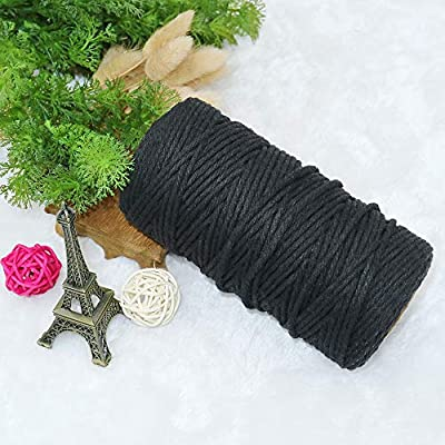 Black String, 3mm Black Twine, Cotton Bakers Twine 328 Feet Cotton Cord Crafts Gift Twine String Christmas Holiday Twine : Office Products