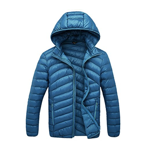 Zipper Men's Pure Jacket Zhhlaixing Color Warm Removable filled Hooded Bello Blue qYnC8