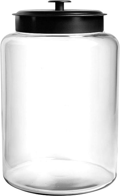 Anchor Hocking 2.5 Gallon Montana Glass Jar with Fresh Seal Lid, Black Metal, Set of 1