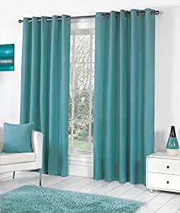 TEAL 100% COTTON 46X72 117X183CM FULLY LINED RING TOP CURTAINS DRAPES