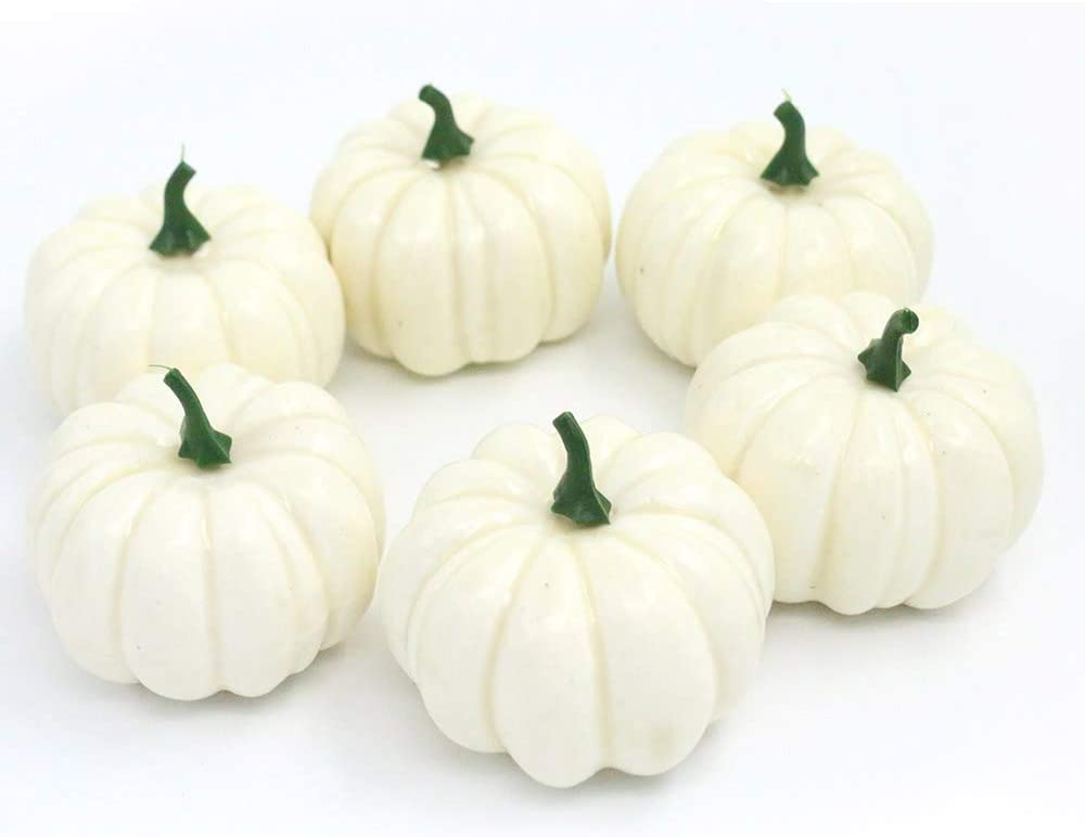 Gresorth 6pcs Fake Zebra-Stripe Pumpkin Decoration Artificial White Pumpkins for Home Party Halloween Christmas Simulation