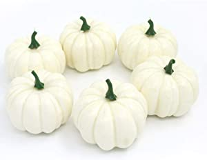 Nice purchase Realistic Fake Artificial Small Pumpkins for Decor Halloween Fall Harvest Thanksgiving Party DIY Craft (White Pumpkins)