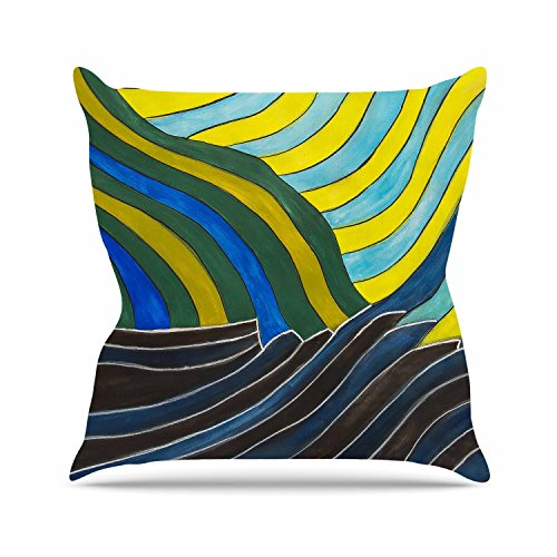 Cheap  Kess InHouse NL Designs Desert Waves Yellow Blue Outdoor Throw Pillow, 16