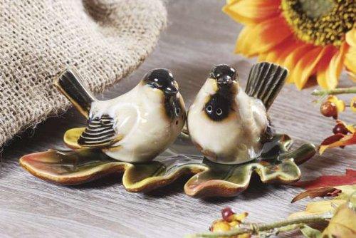 Birds with Maple Leaf Tray 3-piece Salt & Pepper Shaker Set