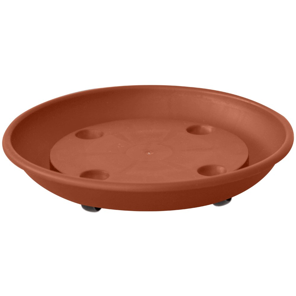 ALMI Rolling Plant Stand Caddy Saucer Round 10 Inch Dolly for Balcony Garden, Plastic Accent Square Planter Drip Tray, Home decor Planter For Plants, UV Resistant Paint, Indoor & Outdoor, Terracotta