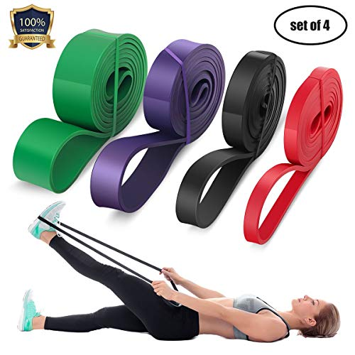LEEKEY Resistance Band Set, Pull Up Assist Bands - Stretch Resistance Band - Mobility Band Powerlifting Bands For Resistance Training, Physical Therapy, Home Workouts (Set-4) ()