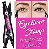 Winged Eyeliner Stamp - 2 Pieces (Left & Right)   Double Sided, Matte Black Liquid Eyeliner   Extremely Pigmented, Waterproof, Smudge-Proof   Cruelty Free & Vegan - For Perfect Wings & Cat Eyes
