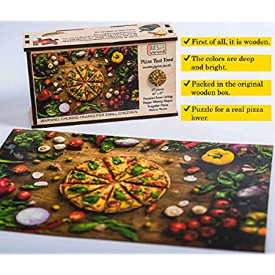 Wooden Jigsaw Puzzles - Pizza Fast Food - 137 Irregular Pieces - Colorful Puzzle for a Real Pizza Lover – BasisWood: Toys & Games