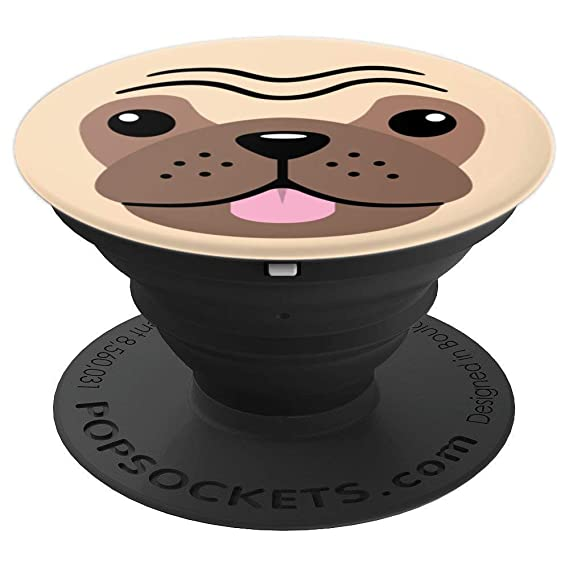b1ac261f15d Image Unavailable. Image not available for. Color  Puppy Dog Emoji Face Cute  Cartoon Pug Brown - PopSockets Grip and Stand for Phones and