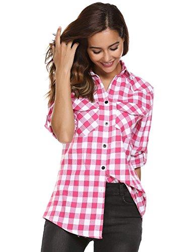 Dozenla Women Casual Cuffed Long Sleeve Tops Loose Boyfriend Plaid Button Down Flannel (Plaid Flannel Top)
