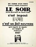 hecs llc - 1927 Ad Le Soir Albert Hecker 1 Rue Mondetour Advertising Publication French - Original Print Ad