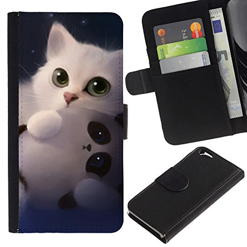 OMEGA Case / Apple Iphone 6 4.7 / panda cute kitten white sweet / Cuir PU Portefeuille Coverture Shell Armure Coque Coq Cas Etui Housse Case Cover Wallet Credit Card