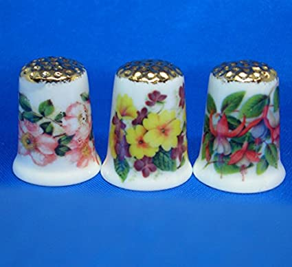 Porcelain China Collectable Set of Three Thimbles American Birds Gold Top