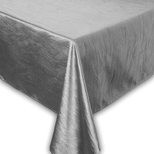 QUEENSHOW Polyester Rectangular Tablecloth Dust-Proof Table Cover for Dining Room, 54Inch x 84Inch Silver - Lace Tablecloths Polyester