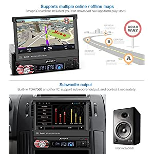 32GB + 2GB Single Din Android Car Stereo Radio with Bluetooth, GPS Navigation, 7 inch Flip Out Touch Screen - Support MirrorLink, WIFI, Backup Camera, AUX input, SD/ USB, Dash Cam