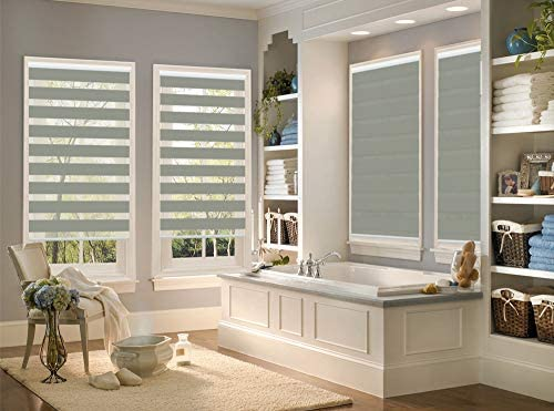 PASSENGER PIGEON Zebra Window Blinds, 65 W x 60 H Inches, Light Grey, Premium Light Filtering Horizontal Day and Night Dual Layer Sheer Blinds, Cord Loop Window Shades for Bedroom, Doors