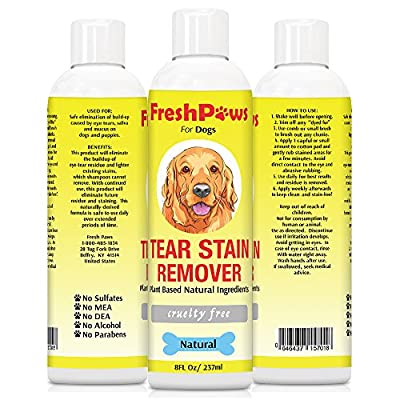 Fresh Paws Tear Stain Remover for Dogs Eyes - Natural Premium Ingredients Safe for Dogs and Cats - Eco-friendly Formula for Your Shih Tzu, Poodle and Maltese. Alcohol and Fragrance Free - Clean Eyes Naturally - Made in the USA - Buy with Confidence and Mo