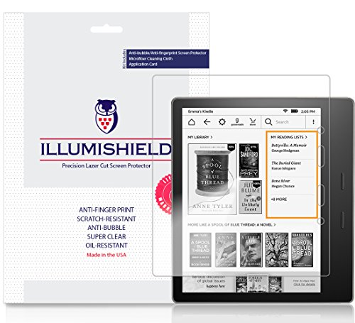 iLLumiShield Screen Protector Compatible with Amazon Kindle Oasis (7 inch, 2017)(2-Pack) Clear HD Shield Anti-Bubble and Anti-Fingerprint PET Film