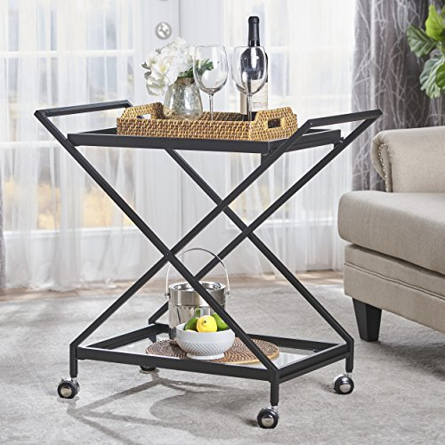 Sheri Industrial Tempered Glass Black Iron Bar Cart