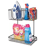 mDesign Wall Mounted Laundry Room Storage Organizer, 2 Levels - Large Basket Holds Iron, Lower Shelf Holds Laundry Detergent, Fabric Softener, Stain Remover - Hardware Included, Steel Wire, Bronze
