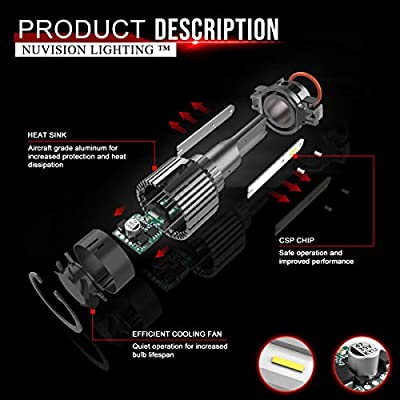 Nuvision Pair H8 H9 H11 Bulbs 20000 Lumens 60W LED Headlight High//Low Beam Fog Light Conversion HID Kit with Fan