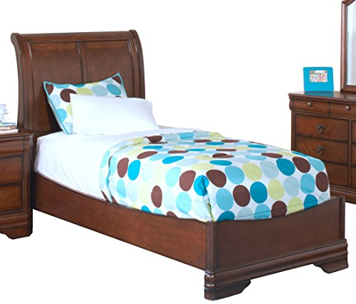NCF Savona Youth Sleigh Twin Bed in Burnished Cherry