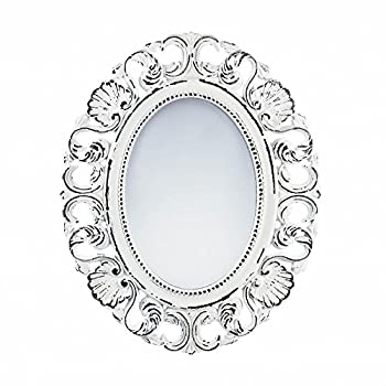 Mirror Wall, Rustic Contemporary Ornate Framed Oval Off White Etched Wall Mirror