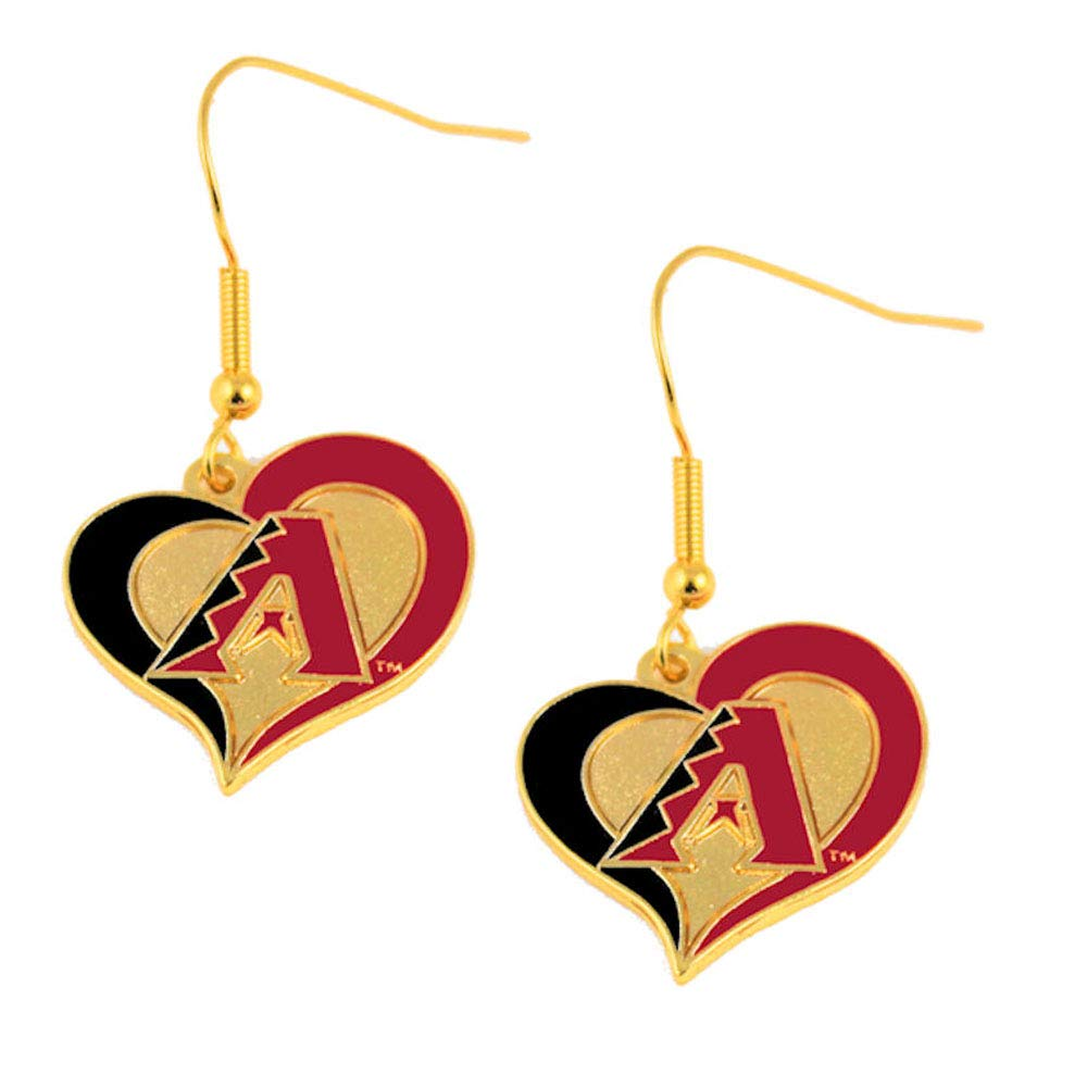 MLB Arizona Diamondbacks Team Logo Swirl Heart Earring Sports Fan Gift