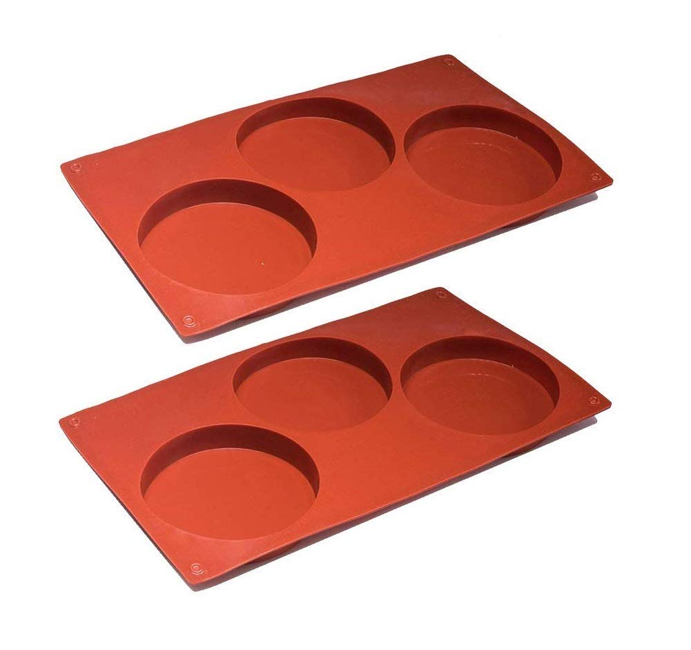 Tebery 3-Cavity Large Round Disc Candy Silicone Molds Pastry Bakeware for Baking, Soap Making, Epoxy Resin, Crafting Projects (2 Pack) by Tebery