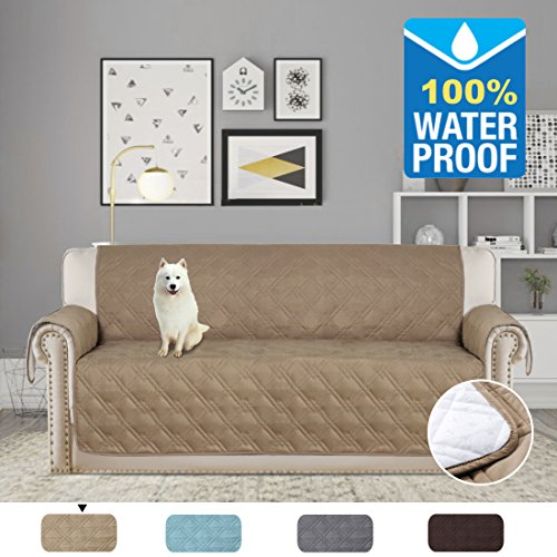 Dog Sofa Covers - H.VERSAILTEX Pet Friendly 100% Waterproof Plush Furniture Protector for Dogs Cats Protect from Pets, Spills, Wear and Tear (Sofa: Taupe) - 75