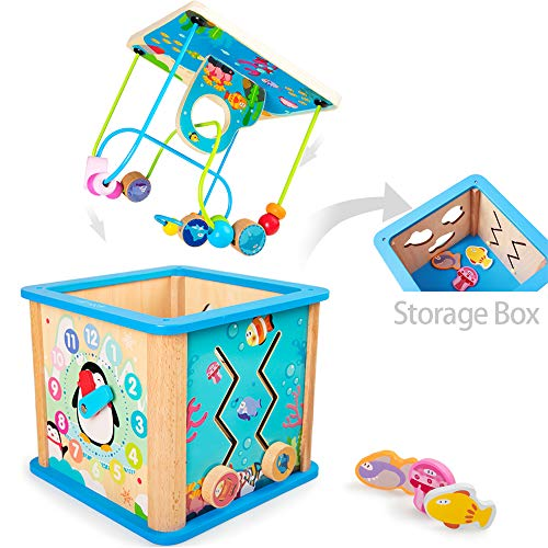 rolimate Preschool Learning Cube Toy, Baby Educational Wooden Toy Box for Age 18 Months Girls and Boys