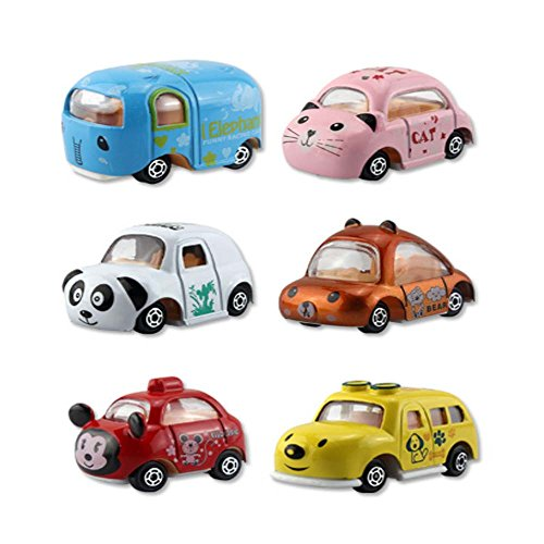 GREATLOVE Pull Back Cars, 6 Pcs Assorted Mini Alloy Die-cast Vehicles Playset , Carton Animal Mini Truck Toy, Pull Back and Go Car Toy Play Set for Kids, Toddler Party Favors by GREATLOVE