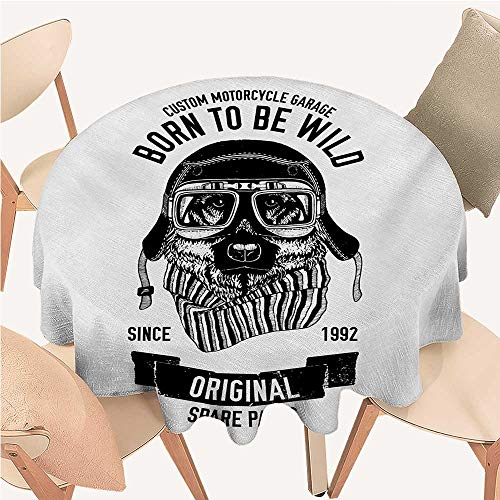 All of better Modern Jacquard Tablecloth Born to be Wild Quote with A Cool Dog Motorcycle Helmet Puppy Rider Animal Graphic 60 inch Round Tablecloth Black White