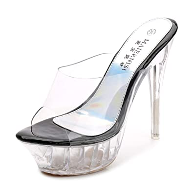 df94af57965e DS-Belle 2018 New Authentic 14CM Super high Heels Thin Transparent Glass  Slippers Platform Shoes