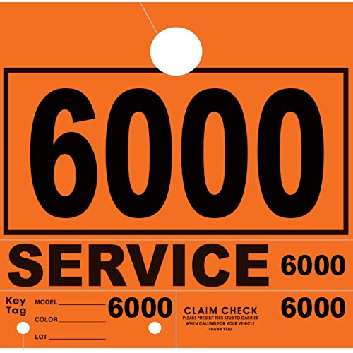 Versa-Tags Service Department Hang Tags Window Tag, Orange, Numbers 6000-6999 (1000 Pieces Per Box)