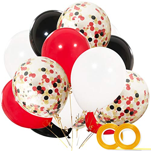 Pirate Party Supplies Balloons 40 Pack- 12 Inch White Black Red Latex Balloons with Confetti Balloon for Baby Shower Pirate Lumberjack Birthday Party Decorations Favors -