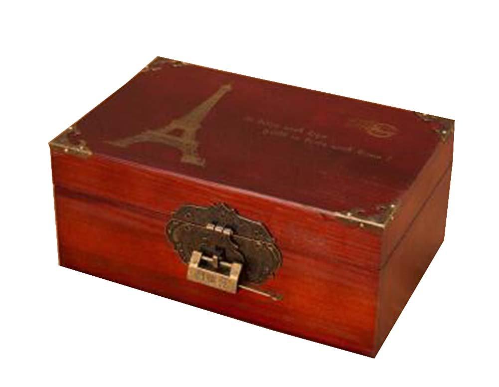 ロック可能な木製ボックスデスクトップストレージボックス貯金箱保険ボックス、レトロlock-3 B07D9KHJBF