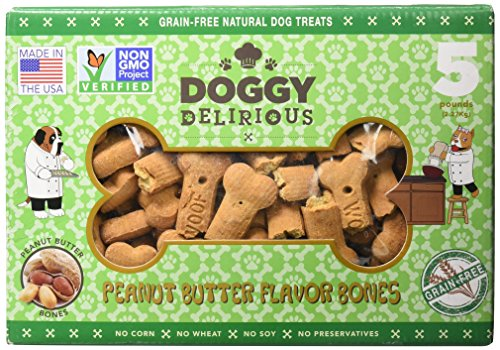 Doggy Delirious Peanut Butter Bones Dog Treats, 5Lbs
