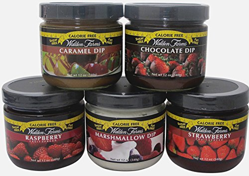 Walden Farms Calorie free –Marshmallow, Chocolate & Caramel Dip and Raspberry & Strawberry Spreads - Calorie Free Carb Free - 1 Jar - Raspberry Walden Farms